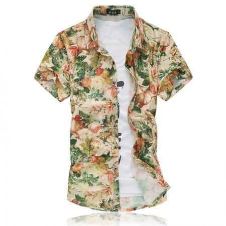 Men's Fashion Shirt Summer Beach Stylish Yarn Golden Floral Pattern