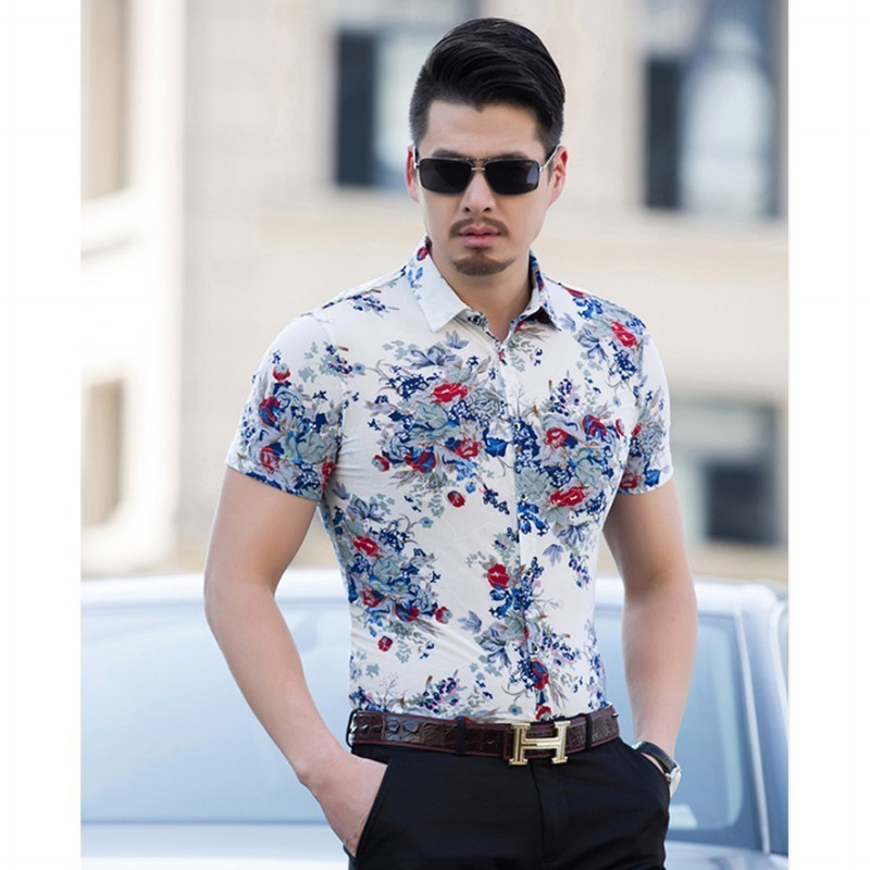 Shirt white floral mens fashion beach spring summer short for Mens short sleeve floral shirt