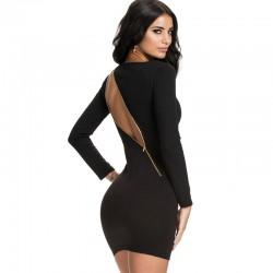 Vestido Preto Elegante Curto Festa Noite com Zíper