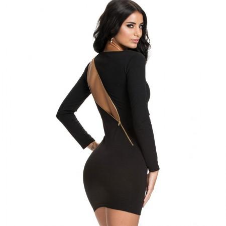 Black Dress Elegant Short Party Night with Zipper