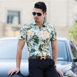 Floral Print Green Fashion Beachwear Men Shirt Short Sleeve Holiday