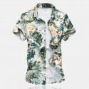 Camisa Estampa Floral Verde Moda Praia Masculina Manga Curta Férias
