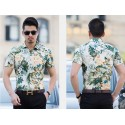 Floral Print Green Fashion Beachwear Men Shirt Short Sleeve Holiday