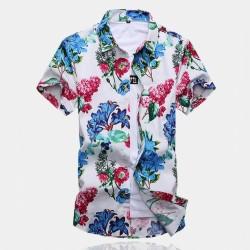 Camisa Floral Masculina Colorida Flores Moda Casual Primavera Verão