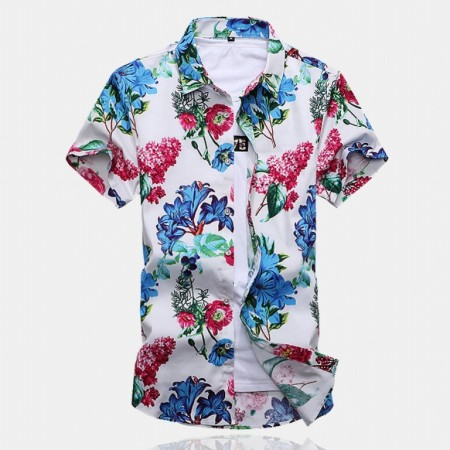 Men's Floral Shirt Colorful Flowers Fashion Casual Spring Summer