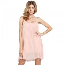 Vestido Básico Rosa Curto Feminino Casual
