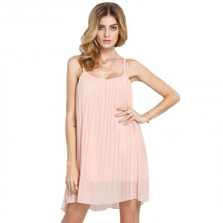 Basic Dress Pink Short Women's Casual