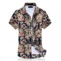 Camisa Masculina Manga Curta de Botão Branca Floral Estampada