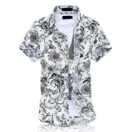 Camisa Masculina Manga Curta de Botão Branca Floral Estampada 06ae8529d2