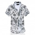Men's Short Sleeve Printed Floral White Button