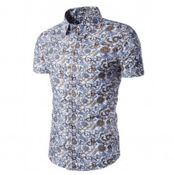 Men's Floral Shirt Printed White Button Casual Beach Fashion