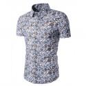 Men's Floral Shirt Printed White Button Casual Beach Fashion