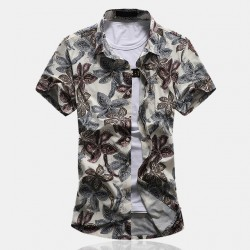 Men's Colorful Floral Shirt Hawaiian Button Short Sleeve Holiday
