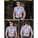 Camisa Floral Masculina Colorida Manga Curta de Botão Havaiana Férias
