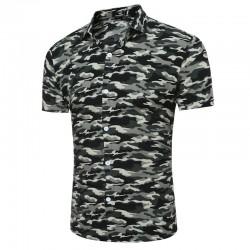 Camisa Masculina Moda Militar Estamapada Casual Estação Moda