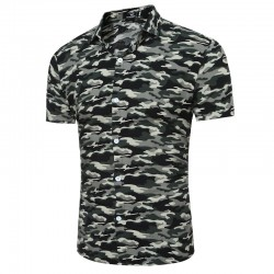 Men's Fashion Shirt Military Fashion Stamped Casual Fashion Station