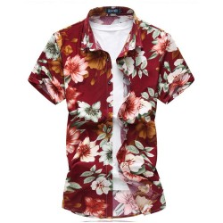 Men's Print Shirt Colorful Flowers Summer Beach Season