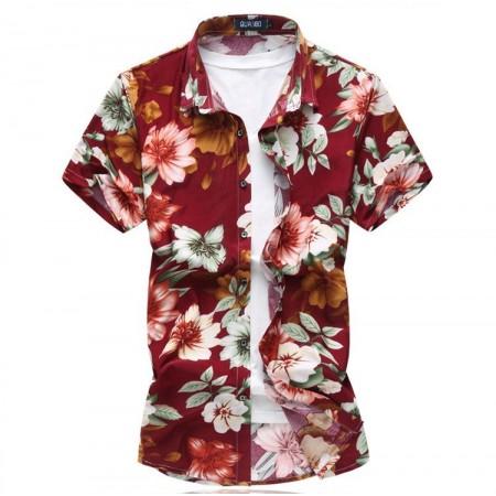 29710b9729b33 Camisa Masculina Estampada Flores Coloridas Verão Estação Praia