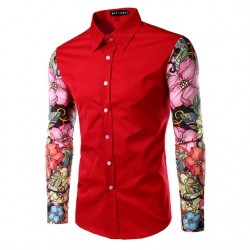 Social Shirt Long Sleeve Men's Print Style Ballads Fashion