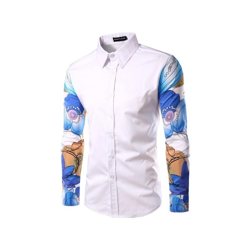 3dcae71855 Camisa Social Manga Longa Masculina Estampada Moda Estilo. Loading zoom