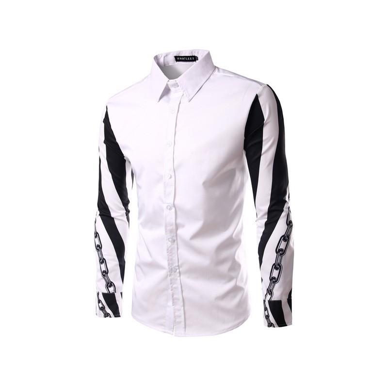 5435da1f74 Camisa Social Manga Longa Masculina Estampada Moda Estilo. Loading zoom
