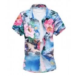 Camisa Masculina Moda Floral Estação Verão Praia Estilo Avaiano