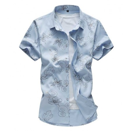 Camisa Estampada Masculina Linda Moda Casual Elegante Jovens