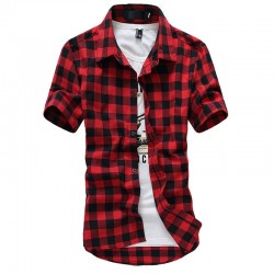 Men's Casual Chiffon Shirt Casual Short Sleeve Summer Fashion Button