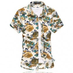Camisa Floral Estampada Estilo Férias de Verão Havaiana Masculina