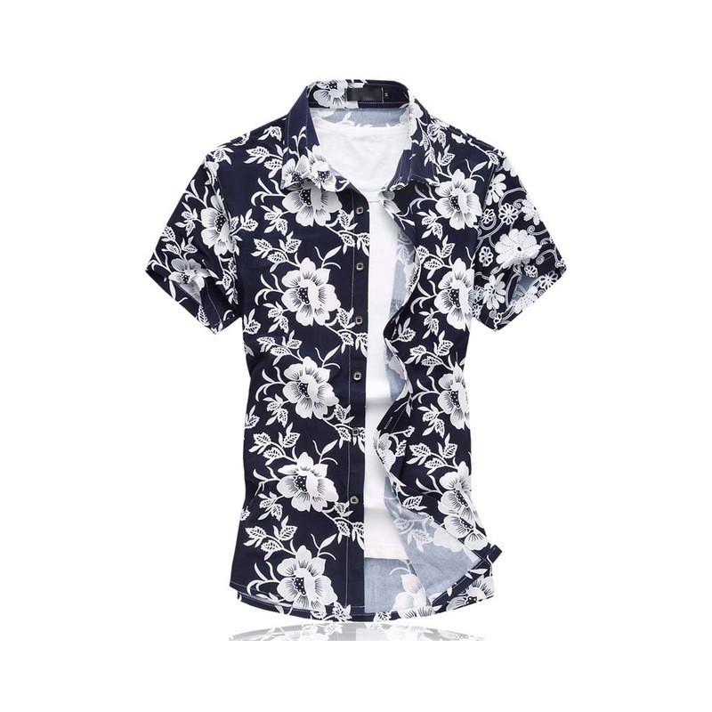 47543427b6 Camisa Floral Estampada Estilo Férias de Verão Havaiana Masculina