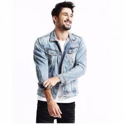Jaqueta Jeans Masculina Vintage Motoqueiro Rascada e Desbotada