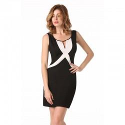 Vestido Social Elegante de Trabalho Feminino Preto Barato