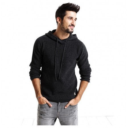Men's Cold Jacket Long Sleeve Black with Hood Thick