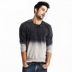 Blusa Moletom de Frio Masculina em Degrade Cinza Escuro e Branco