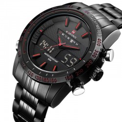 Men's Black Sport Watch in Quartz and Digital Ceramics
