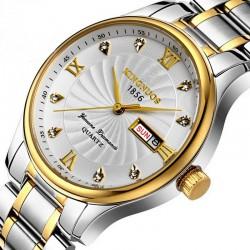 Relógio Quartzo Fino Elegante Dourado Aço Inox Presidente
