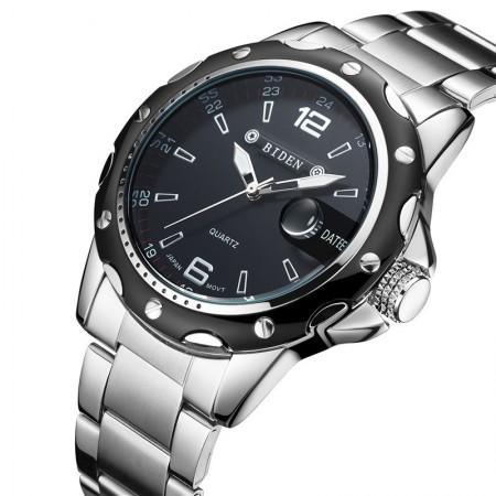 809be06d7da Relógio Masculino Quartzo Elegante Esportivo Preto Cromado Aço Inox