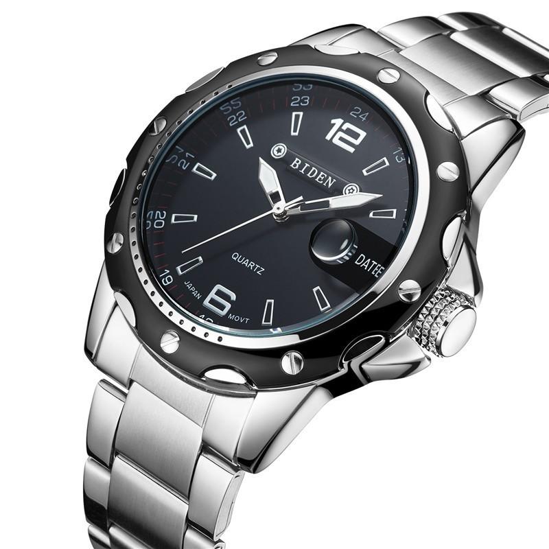 99aa99065cf Relógio Masculino Quartzo Elegante Esportivo Preto Cromado Aço Inox