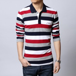 Men's Casual Shirt Polo Striped Long Sleeve Casual Winter Fashion
