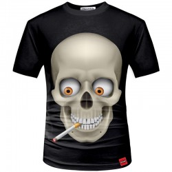 Black Shirt 3D Skull Men's Short Sleeve