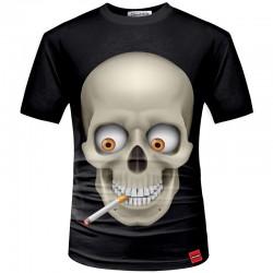 Camisa Preta Temática Caveira 3D Estampada Masculina Manga Curta