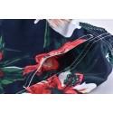 Short de Banho Masculino Curto Azul Floral Moda Praia Listras Brancas