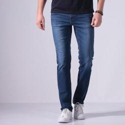 Calça Masculina Jeans Corte Reto Azul Clássico Justa Estilo Casual