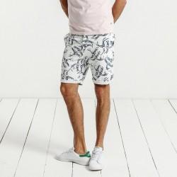 Bermuda Masculina Branda Estampada Passaros Skinny Curto Moda Praia