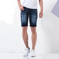 Bermuda Jeans Escuro Masculina Skinny Casual Curto no Joelho