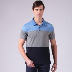 Camiseta Polo Masculina Listrada Esporte Fino Algodão Manga Curta