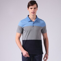 Men's Polo Shirt Striped Sport Thin Cotton Short Sleeve