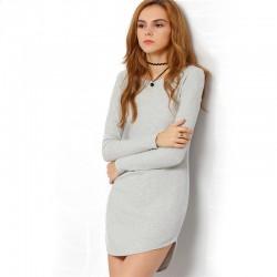 Vestido de Inverno Casual Manga Longa Cinza Curto