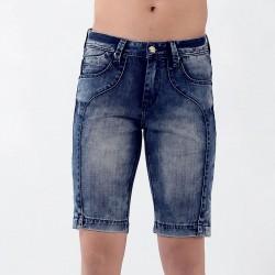 Short Jeans cor Azul Envelhecido Justo Masculino Acima do Joelho