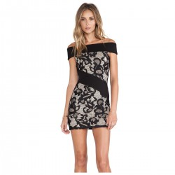 Dress Short Black Floral Party Club Classic Women's Fashion